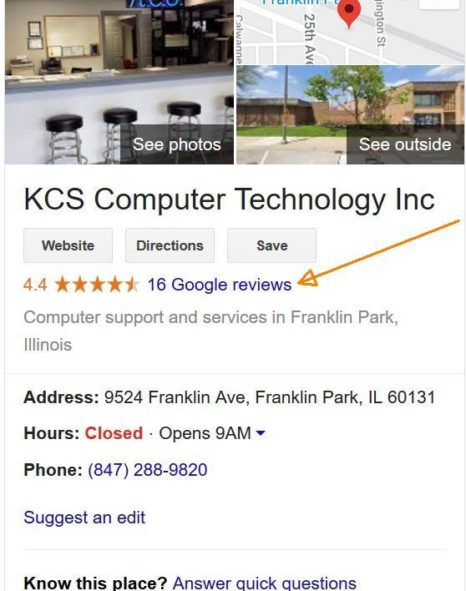KCS Tech Google reviews 10/1/2019